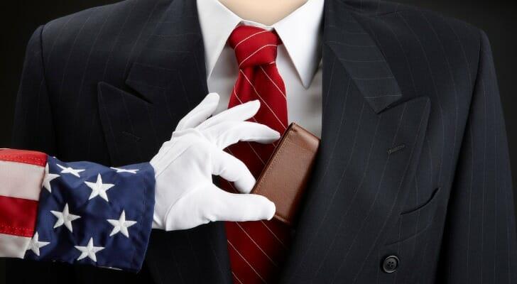 Uncle Sam picks a rich man's coat pocket